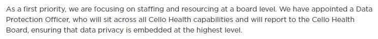 Cello Health GDPR Compliance Statement: DPO section