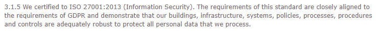 CIPFA GDPR Compliance Statement: Certified to ISO for information security measures section