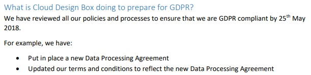 Cloud Design Box GDPR Compliance Statement: What is Cloud Design Box doing to prepare for GDPR section