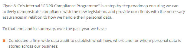 Clyde and Co GDPR Compliance Statement: Data audit section