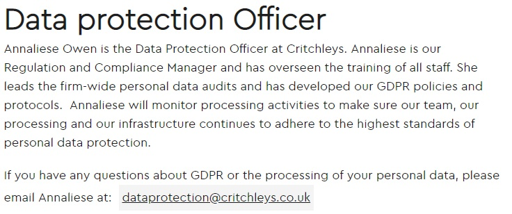 Critchleys GDPR Compliance Statement: DPO section