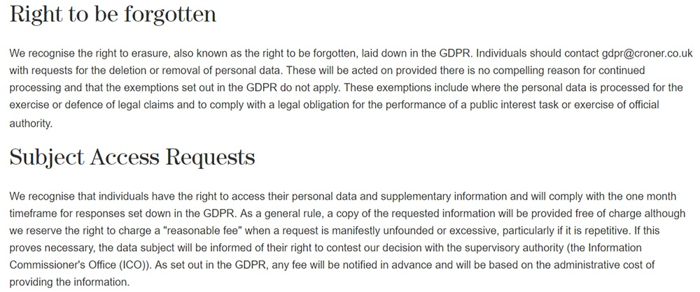 Croner Group GDPR Compliance Statement: Right to be Forgotten and Subject Access Requests sections
