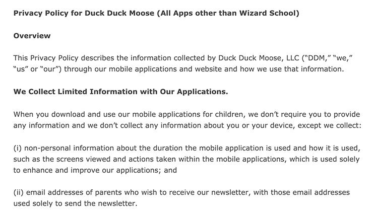 Duck Duck Moose Privacy Policy: We Collect Limited Information With Our Application clause