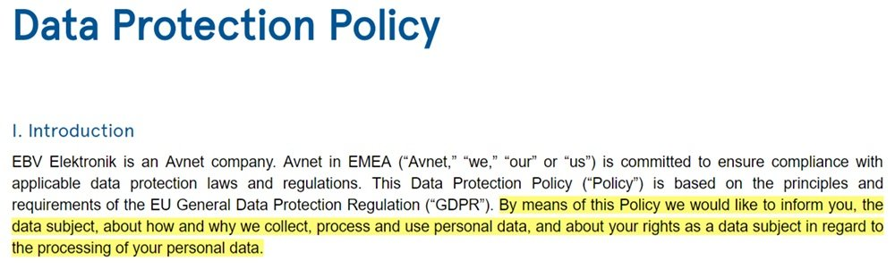 EBV Elektronik Data Protection Policy: Introduction clause