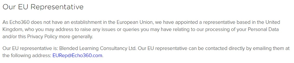 Echo360 Platform Privacy Policy: EU Representative clause