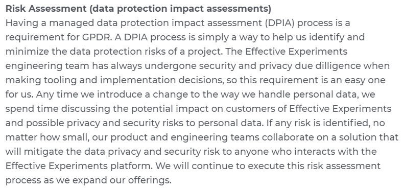 Effective Experiments GDPR Compliance Statement: Risk Assessment DPIA section