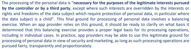 ENISA Privacy and Data Protection in Mobile Applications: GDPR legitimate interests section