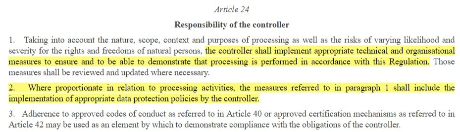 EUR-Lex GDPR Article 24: Responsibility of the Controller