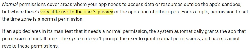 Google Android Developers documentation: Permissions overview - Normal definition