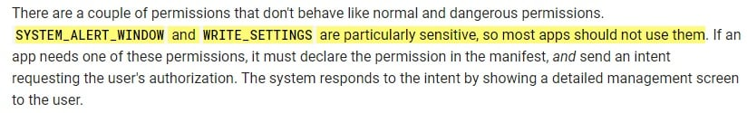 Google Android Developers documentation: Permissions overview - Sensitive definition