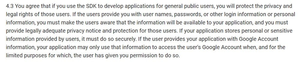 Google Android SDK Terms and Conditions: Protect privacy and provide privacy notice clause