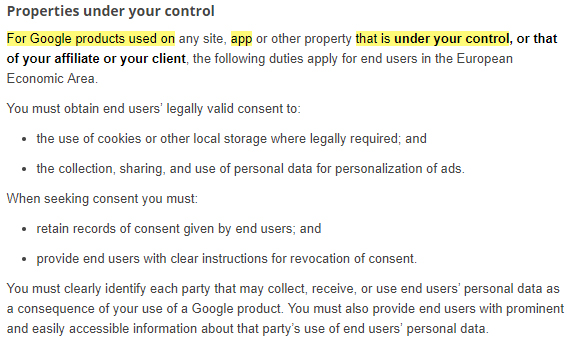 Google EU User Consent Policy: Properties under your control section