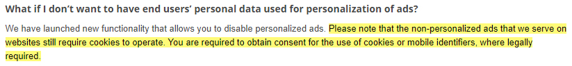 Google Help with the EU User Consent Policy: Non-personalized ads require cookies section