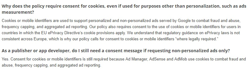 Google Help with the EU User Consent Policy: Why does the policy require consent for cookies for ads measurement and non-personalized ads sections