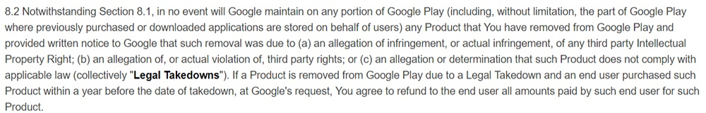 Google Play Developer Distribution Agreement: Legal takedown clause