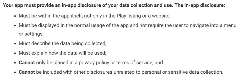 Google Play Privacy Security and Deception: In-app disclosure of data collection and use section