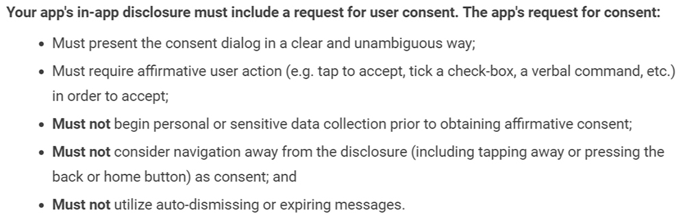 Google Play Privacy Security and Deception: Disclosure consent request requirements section