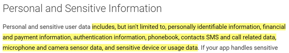 Google Play Privacy Security and Deception: Personal and Sensitive Information definition
