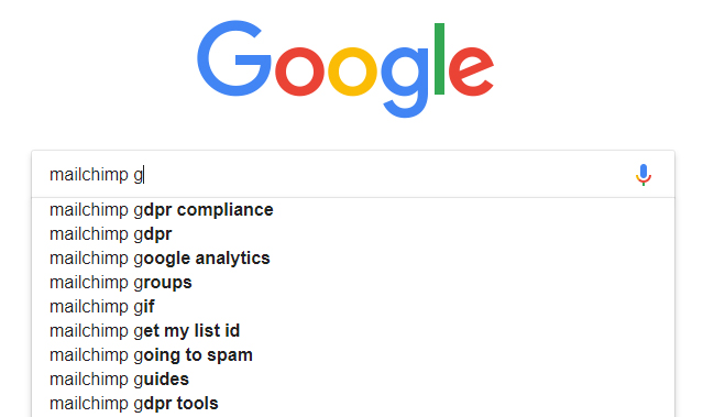Screenshot of Google search predictions for MailChimp and GDPR