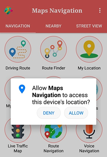 GPS Route Tracker Android app: Permissions request to access location