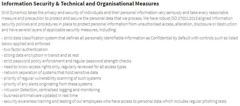 Grid Dynamics GDPR Compliance Statement: Information Security and Technical and Organisational Measures section