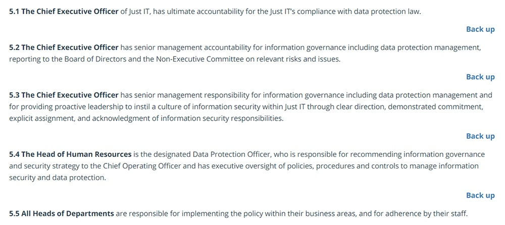 Just IT Data Protection Policy: Lines of Responsibility clause excerpt