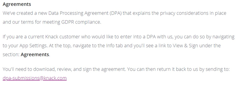 Knack GDPR Compliance Statement: Agreements section