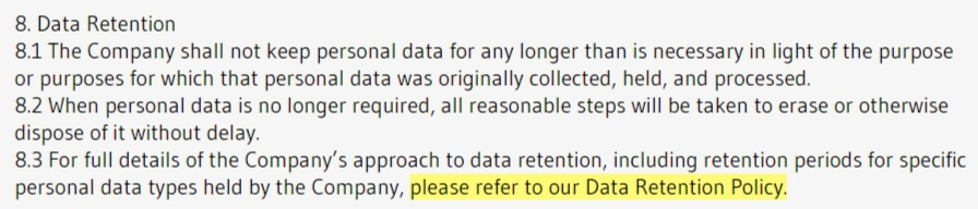 MCA Cooper Associates Data Protection Policy: Data Retention clause