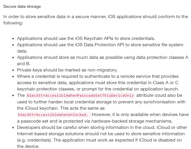 National Cyber Security Centre: Apple iOS Application development Guidance - Secure Data Storage section