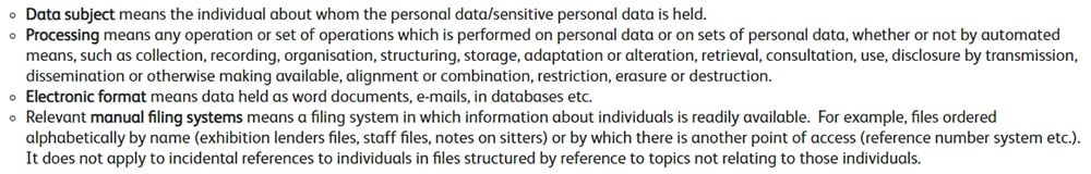 National Portrait Gallery Data Protection Policy: Definitions clause excerpt