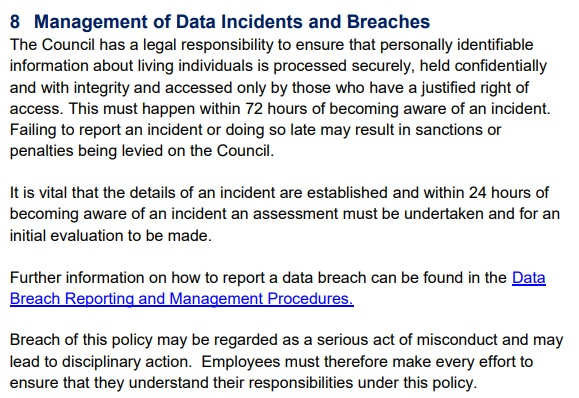 North Ayrshire Council Data Protection Policy: Management of Data Incidents and Breaches clause
