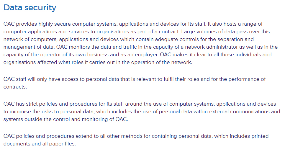 OAC Data Protection Policy: Data Security clause