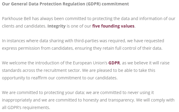 Parkhouse Bell GDPR Commitment
