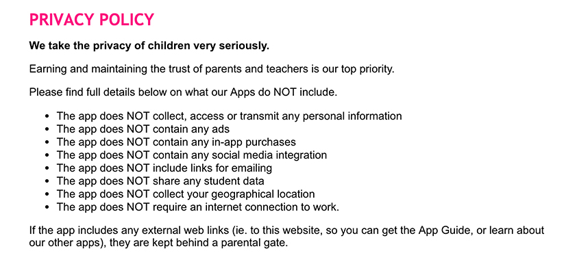 Screenshot of Phonic Flash Cards Privacy Policy
