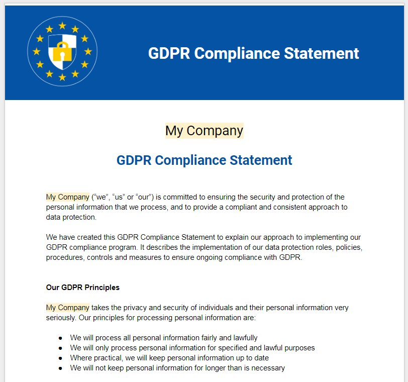 Templates And Examples: GDPR Compliance Statement