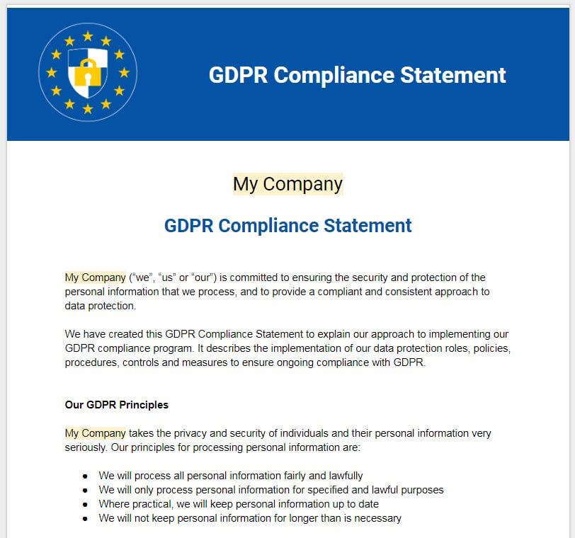 Sample: GDPR Compliance Statement Template