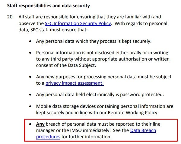 Scottish Funding Council Data Protection Policy: Staff responsibilities and data security clause with data breach procedures