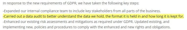 SICL GDPR Public Statement: Data audit section