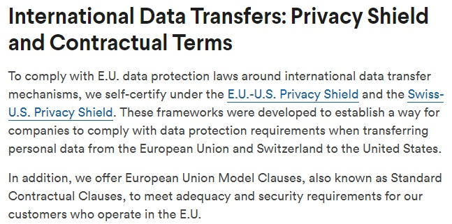 Slack GDPR Compliance Statement: International Data Transfers: Privacy Shield and Contractual Terms section