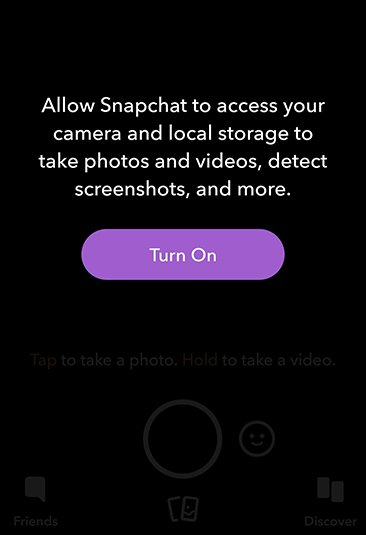 Snapchat app permission request screen to access camera and local storage