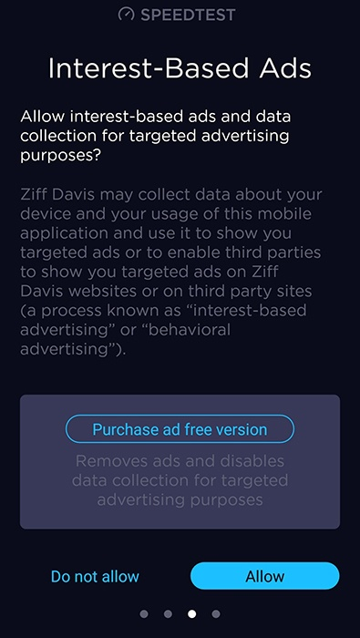 Speedtest app: Permissions request screen for interest-based ads