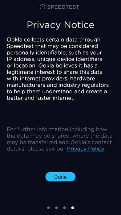 Speedtest app Privacy Notice screen