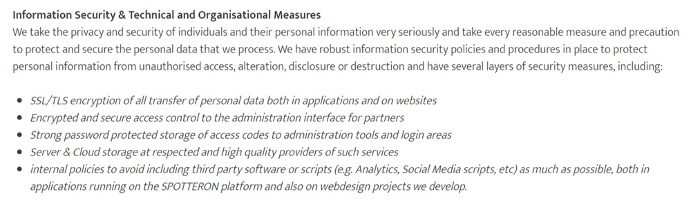 Spotterton GDPR Compliance Statement: Information Security and Technical and Organisational Measures section