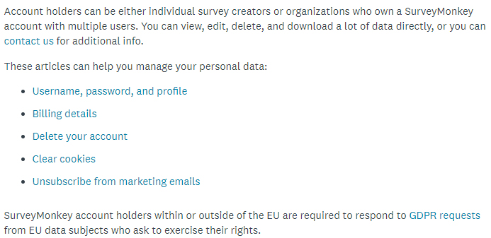 SurveyMonkey GDPR Compliance Statement: User rights and requests section