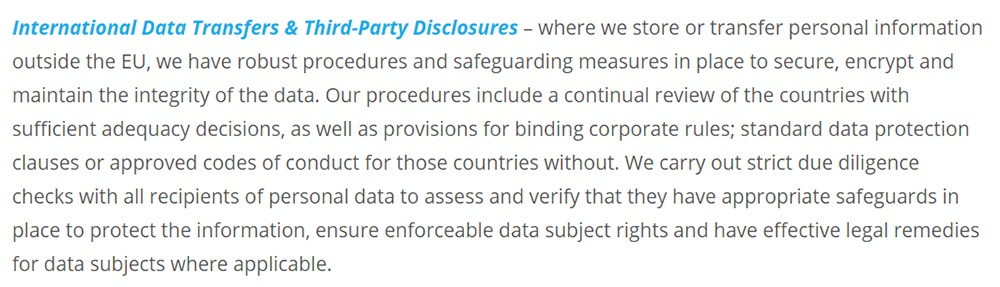 TenIntelligence GDPR Compliance Statement: International Data Transfers and Third-Party Disclosures section
