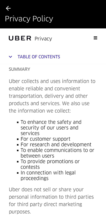 Screenshot of Uber Android app embedded Privacy Policy