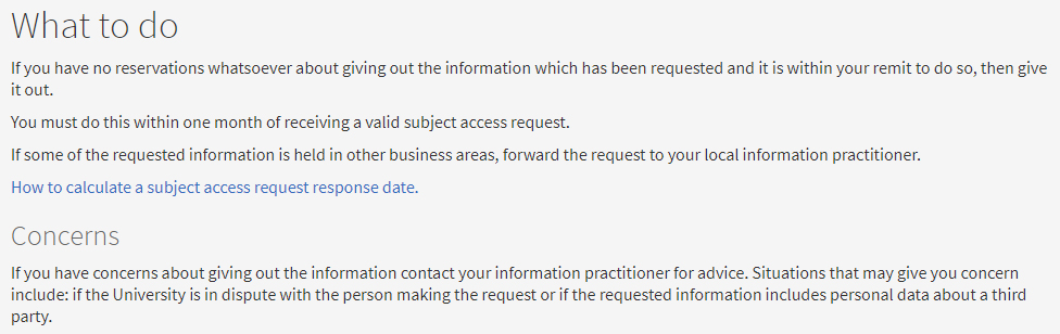 University of Edinburgh Records Management: Guidance for all Staff on Handling Subject Access Requests - What to do to respond and Concerns clauses