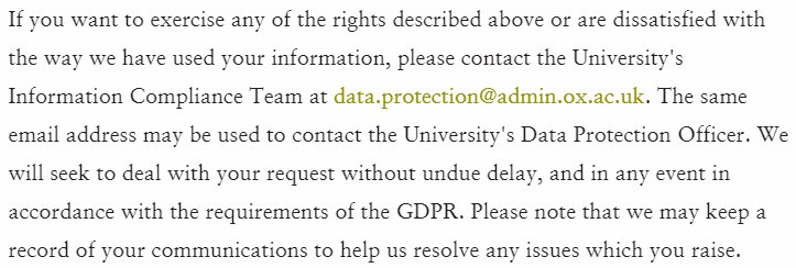 University of Oxford Privacy Policy: Excerpt of how to exercise GDPR legal rights clause