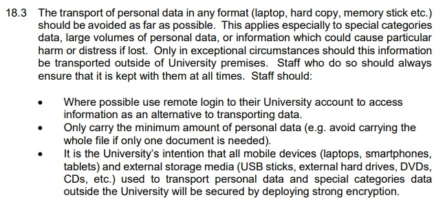 University of West London Data Protection Policy: Security - Transport of personal data clause
