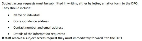 Uppingham College Data Protection Policy: Subject access requests and other rights of individuals clause excerpt